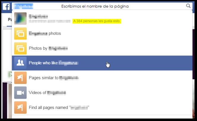 Para realizar la búsqueda > Escribimos en nombre de la Fan Page > Seleccionamos gente que le gusta.