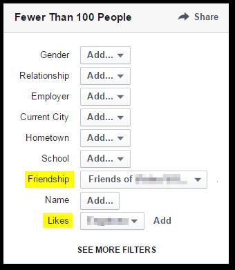 En el menú inferior derecho para acotar la búsqueda > Selecciono amigos del administrador de la FP > Likes > Nombre de la página.