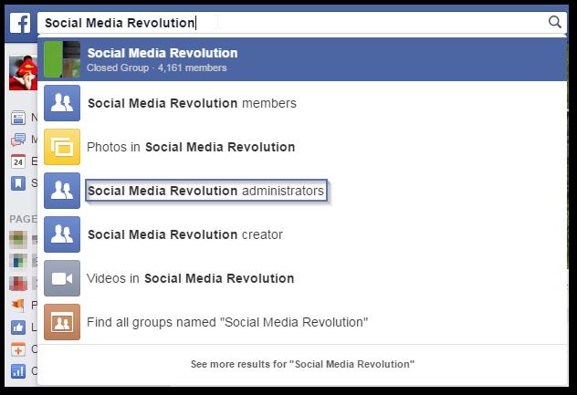 Escribo el nombre del grupo Social Media Revolution en el buscador. Como podéis ver en los iconos tengo la opción de ver sus miembros, sus fotos los administradores, al creador videos y grupos con el mismo nombre. Todo en una frase, con un click y con unos iconos que facilitan la usabilidad. Finalmente selecciono administradores.