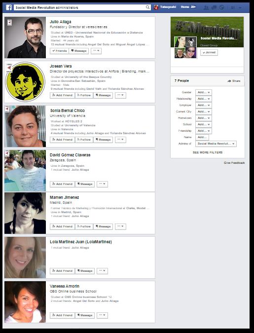 La búsqueda nos devuelve  7 administradores pero me gustaría saber que conexiones tiene Julio Aliaga con compañeras que vivan en Barcelona y que sean fan de su página en Facebook.