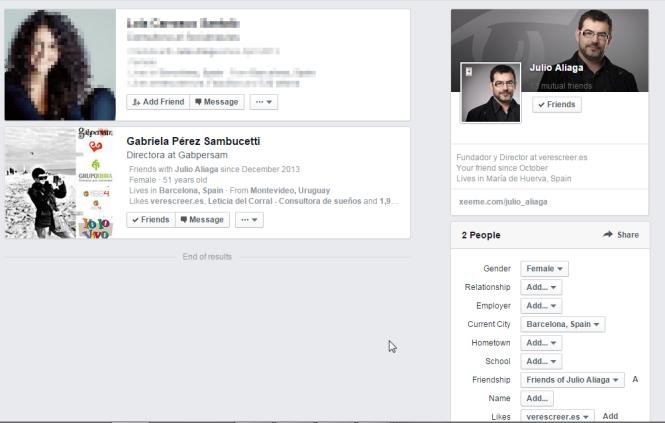 Acoto en el cuadro la búsqueda al Género femenino, ciudad actual Barcelona y que sean fans de verescreer.es > Resultado =  2 personas y  una de ellas Gabriela coincide que está en mi red de contactos.