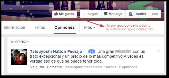 valoracion fan page facebook