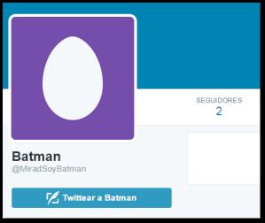 Ejemplo cuenta de Twitter no personalizada