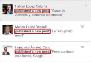 """¿Merece la pena escribir en Pulse? Después de mi primer post sobre LinkedIn, Tatsu me decía, """"Ahora tienes que escribir sobre Pulse"""" y aunque suele ser muy """"bien mandao"""" resulta que sobre esto ya han escrito demasiado. Si utilizáis Google encontrareis muchos resultados útiles, sobre longitud recomendada de los posts, frecuencia de publicación etc. Cosas de las que no voy a hablar en este post. Para quien no la conozca, Pulse es la plataforma de bloggin de LinkedIn, y al hablar de bloggin diréis (o pensareis): •""""Ah pero si es para publicar mis posts ya tengo mi blog que mola mucho"""" •""""Pero yo prefiero publicar en mi blog que tengo más control sobre lo que pasa"""" •""""No me interesa guardar mis huevos en la cesta de otro"""" •""""Puff que pereza, no me da tiempo escribir en mi blog, como para escribir en otro sitio"""" •""""Soy guay y te voy a llevar la contraria digas lo que digas"""" Tengo que deciros que puedo compartir la mayoría de estos argumentos o de otros similares, pero entonces el post acabaría aquí y no habríamos avanzando nada. Sin quitaros la razón en lo que hemos comentado antes, no me queda más remedio que hablar de la mayor de las ventajas de Pulse, vuestra red de contactos. Ya lo mencioné en los comentarios del post anterior, pero es que es verdad, lo mejor de LinkedIn es vuestra red de contactos y si la habéis construido con cabeza estaréis de acuerdo conmigo, si no es así, parad de leer porque esto os va a servir de muy poco ;-) La principal diferencia entre compartir un contenido en LinkedIn y publicar un post en Pulse es que el post de pulse envía una notificación a todos nuestros contactos, (excepto a los que nos hayan silenciado, pero de eso os hablaré un poco después). Así se ven las notificaciones: Esto en términos profesionales podemos decir que mola, pero claro no todo va a ser publicar y cantar, la parte mala es que, (afortunadamente), cada vez más gente sabe dónde está el botón para silenciarnos, y si aburrimos a nuestra audiencia, (por el tema, frecuencia o"""