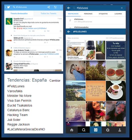Ejemplo de uso de hashtag en Twitter e instagram