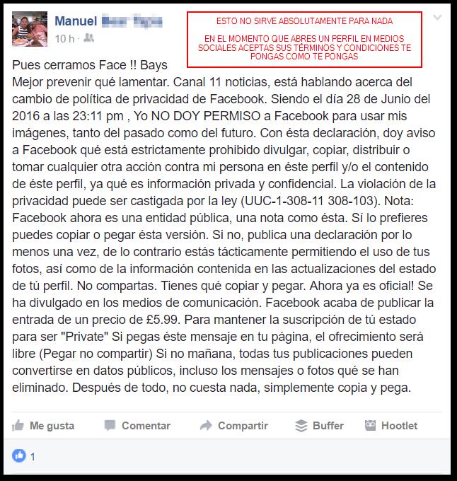 Ejemplo de falsa declaración de derechos en Facebook