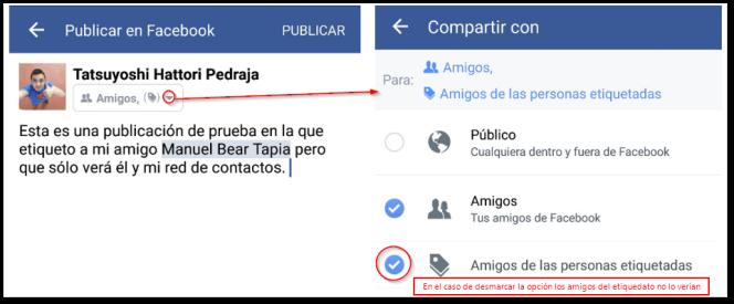 Opción para etiquetar en facebook para que no lo vean todos los contactos de la persona etiquetada